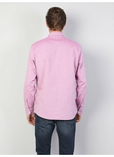 Colin's Regular Fit Shirt Neck Erkek Lila Uzun Kol Gömlek Mor